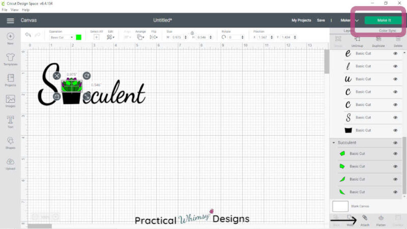 Attaching layers on Cricut Design space file.