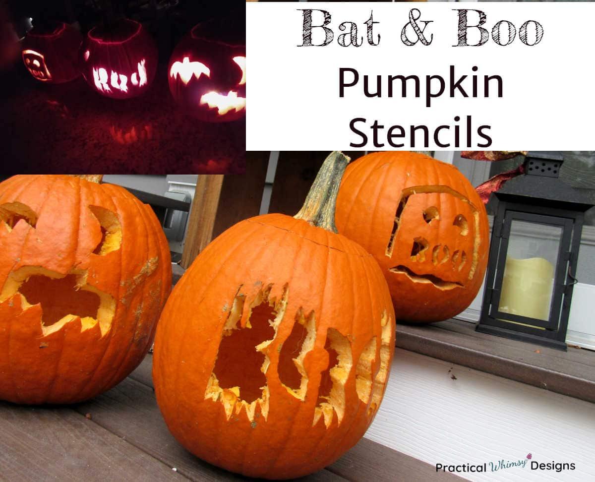 Bat & Boo Carved Pumpkins