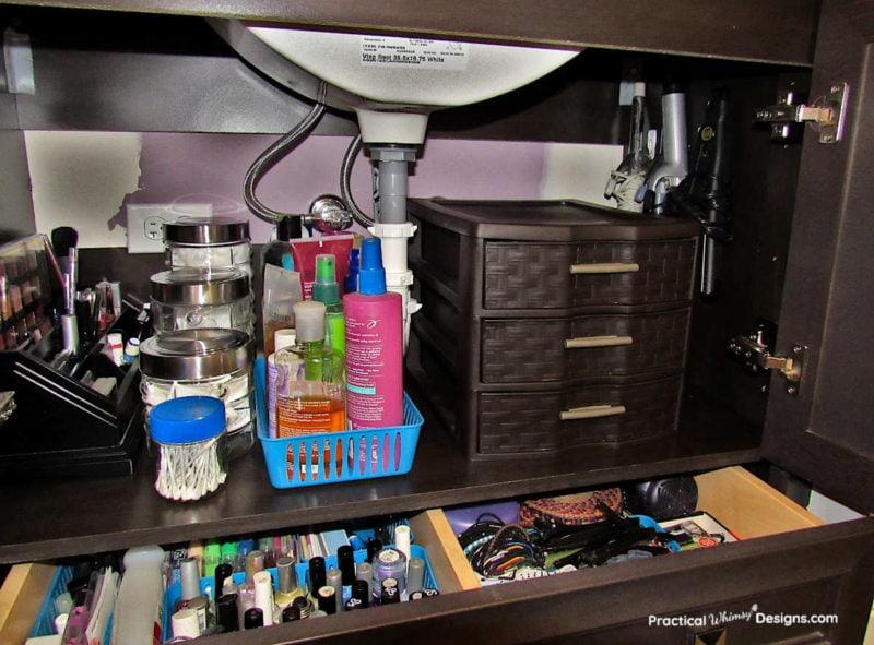 Sink after organization: hers.