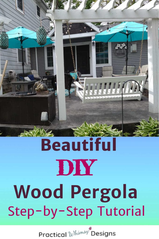 DIY Wooden pergolas for swings on patio with teal umbrellas