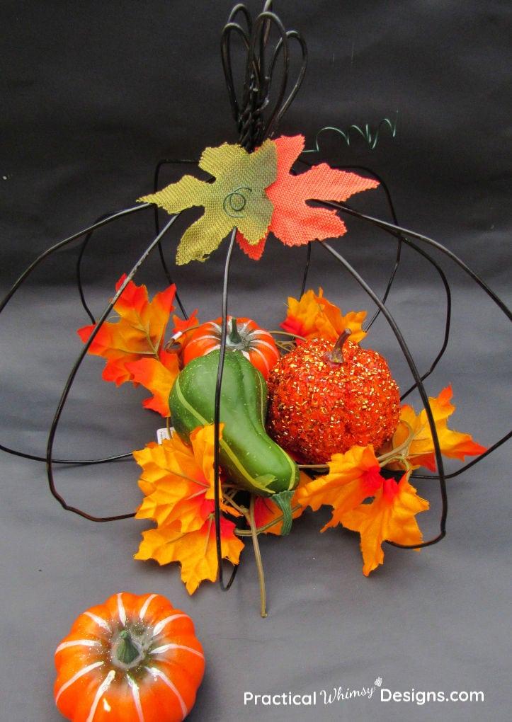 Black wire pumpkin for fall decor