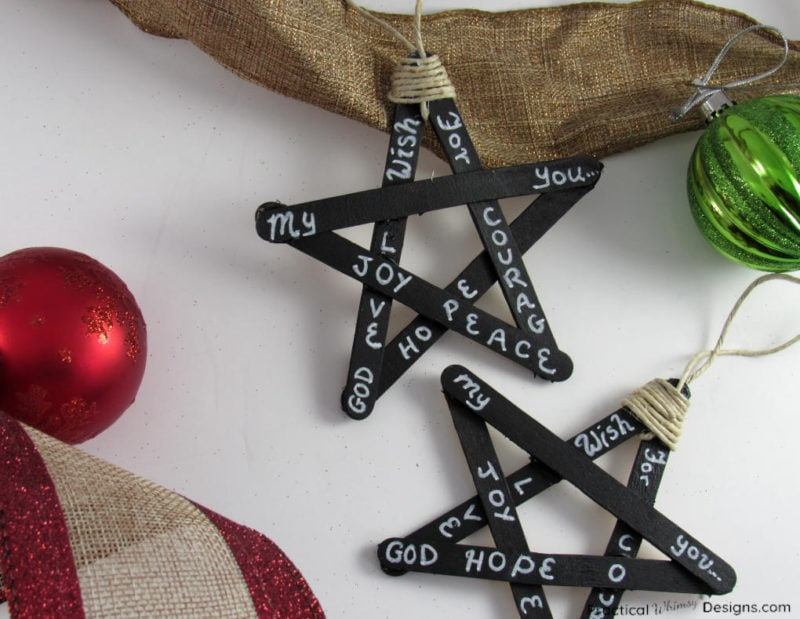 Blackboard star Christmas Ornaments and bulbs