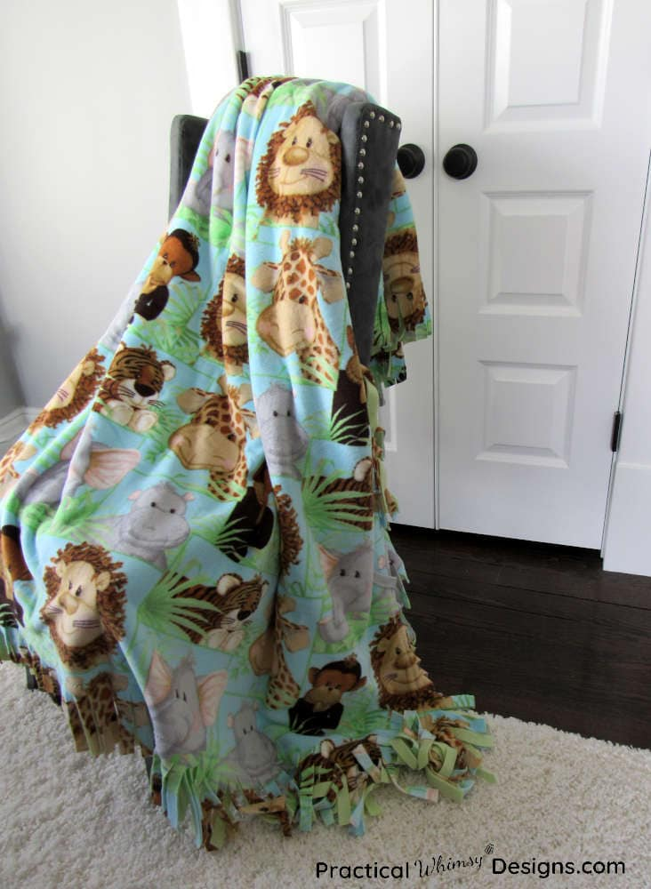 Fleece blanket draped over chair