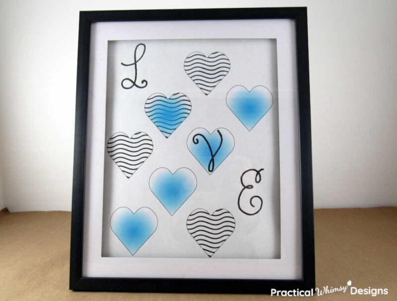 Blue Love Heart Printable for Valentines decor