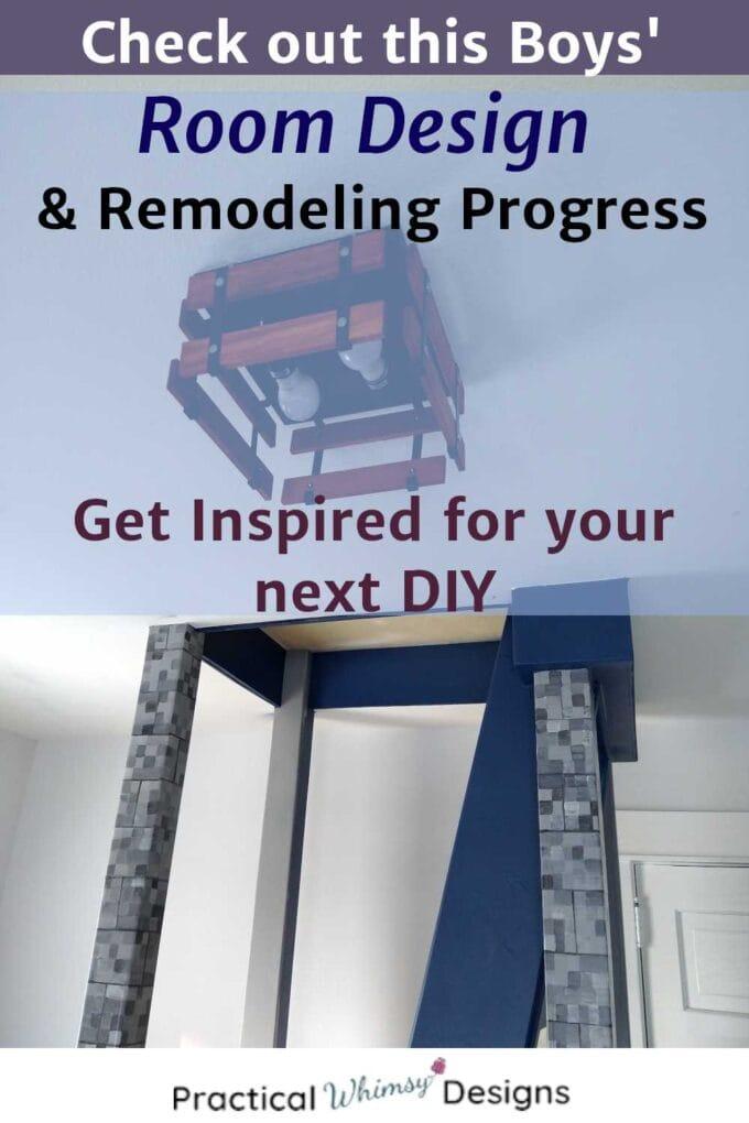 Boys' room design and remodeling progress, platform and light.