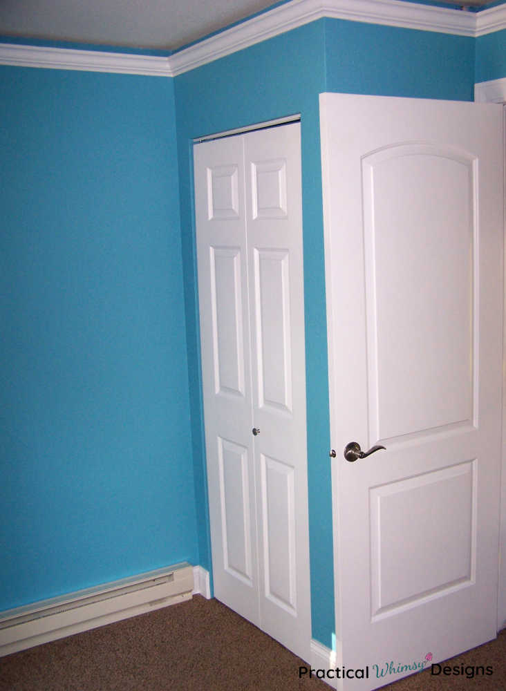 Blue painted walls and white trim