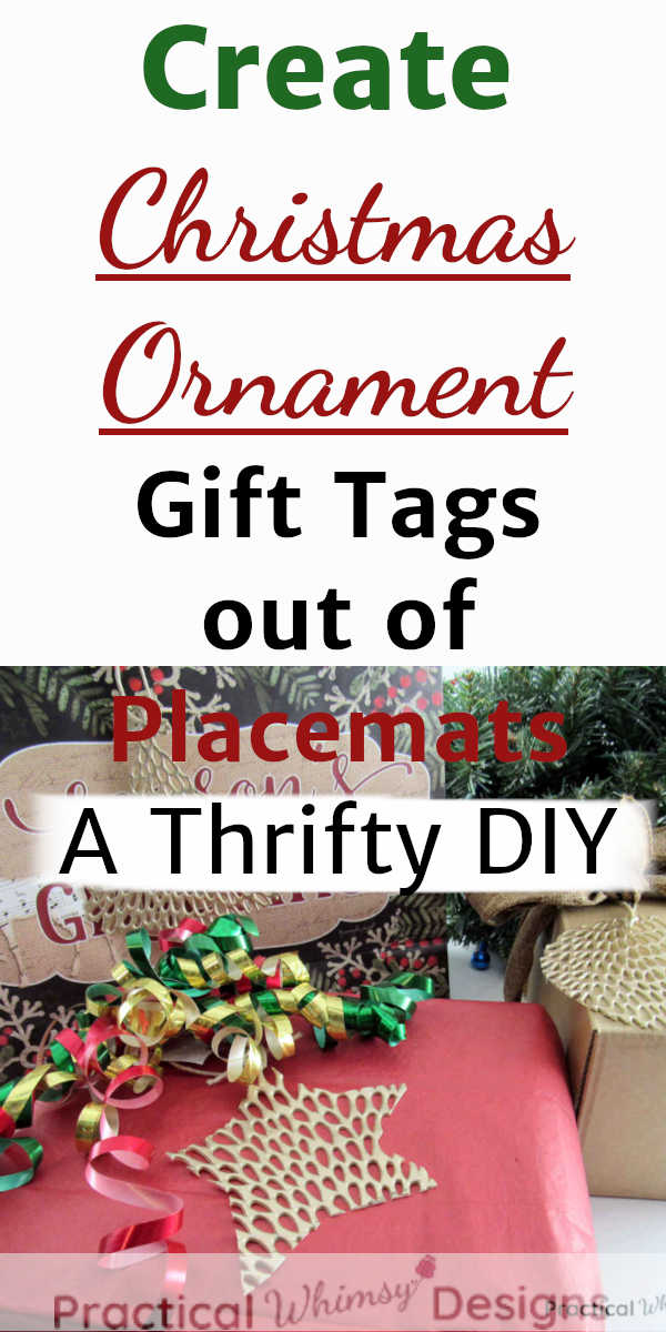 Christmas ornament gift tags made out of placemats