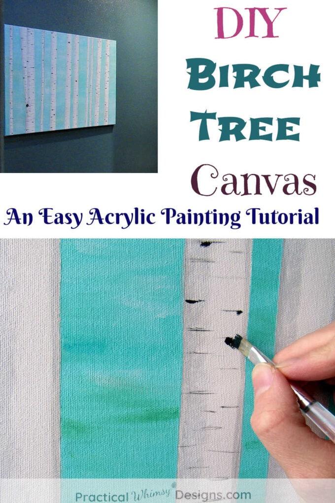 Birch tree painting on canvas