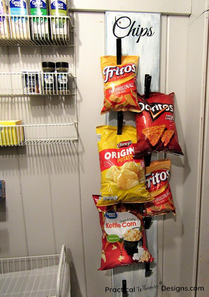 DIY Chip Storage Rack Hanging in Pantry