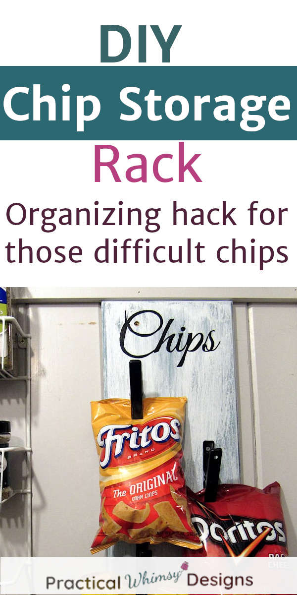 DIY Chip Storage Rack with chips hanging on it