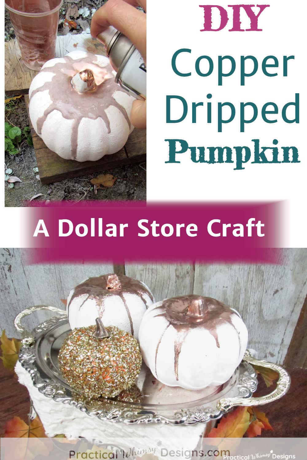 DIY Copper Dripped Pumpkins on a tray