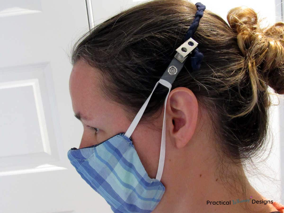 Lady wearing mask and DIY Ear saver