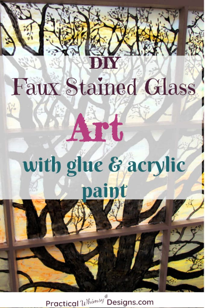 DIY Faux Stained Glass Window Art with Glue and Acrylic Paint