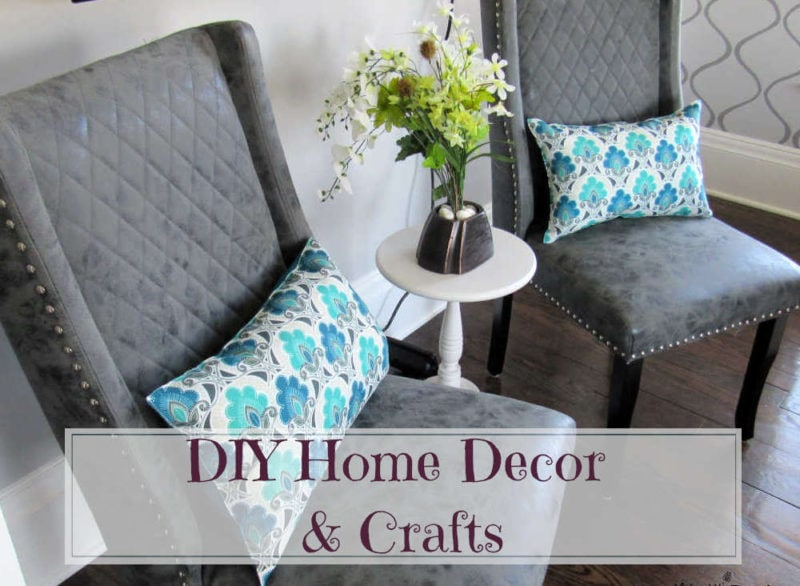 DIY Home Decor & Crafts: Chairs with pillows and small table with flowers