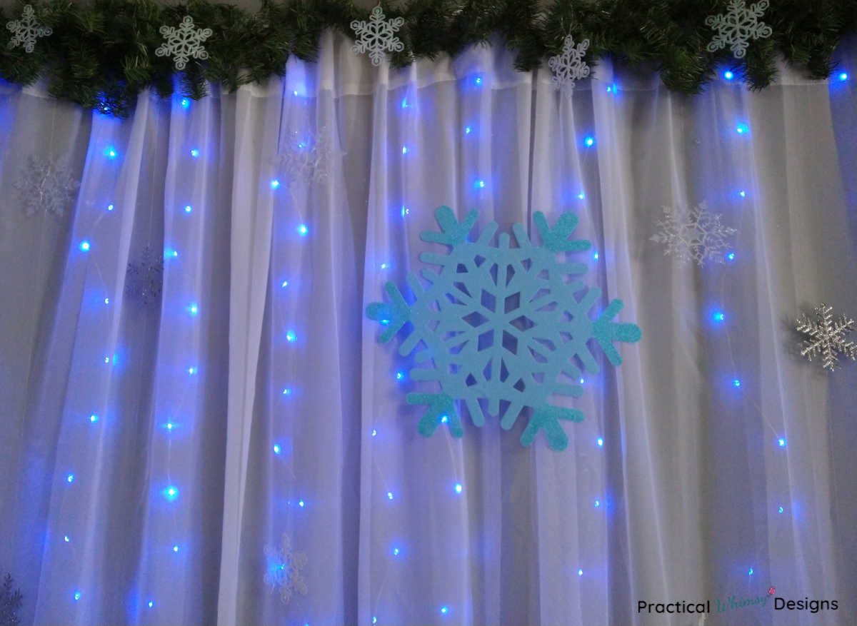 DIY Lighted Curtain with Snowflakes