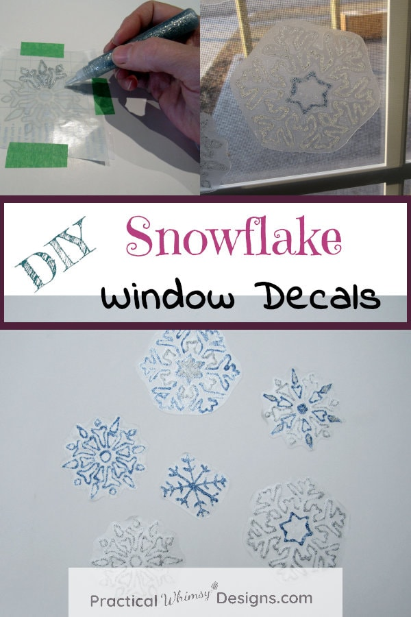 DIY Snowflake Window Decals with glitter glue