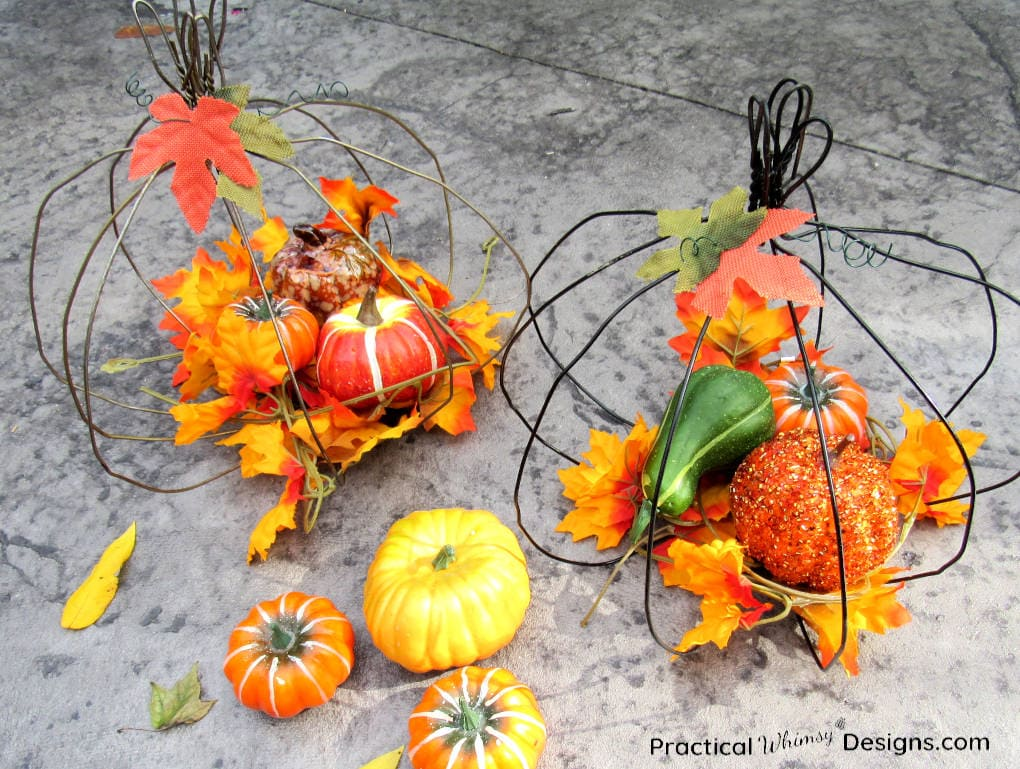 DIY Wire Pumpkin decorations for fall