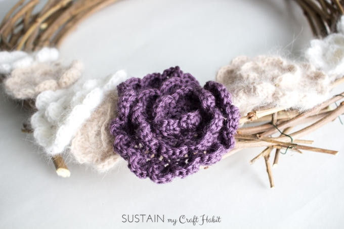 Mulberry branch wreath with crocheted flowers