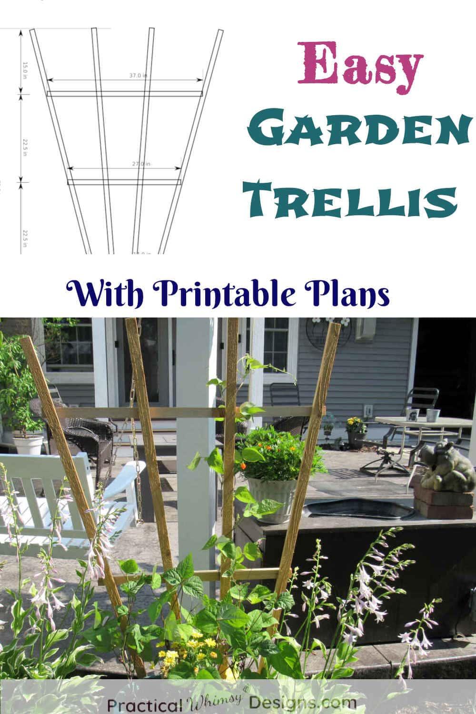 Easy garden trellis with printable plans.
