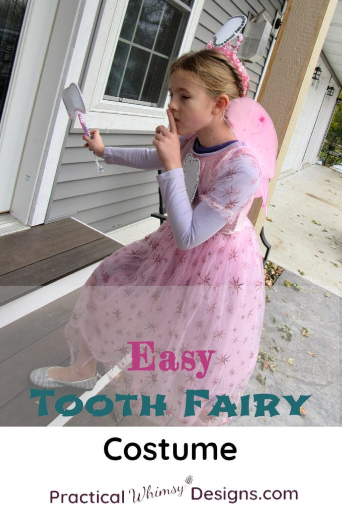 Easy Tooth Fairy Costume. Girl dressed in tooth fairy costume climbing up steps.