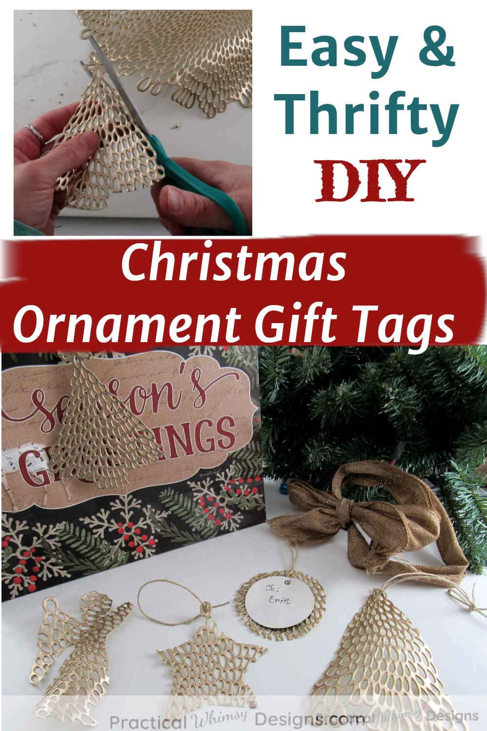 Easy and thrifty DIY Christmas ornament gift tags