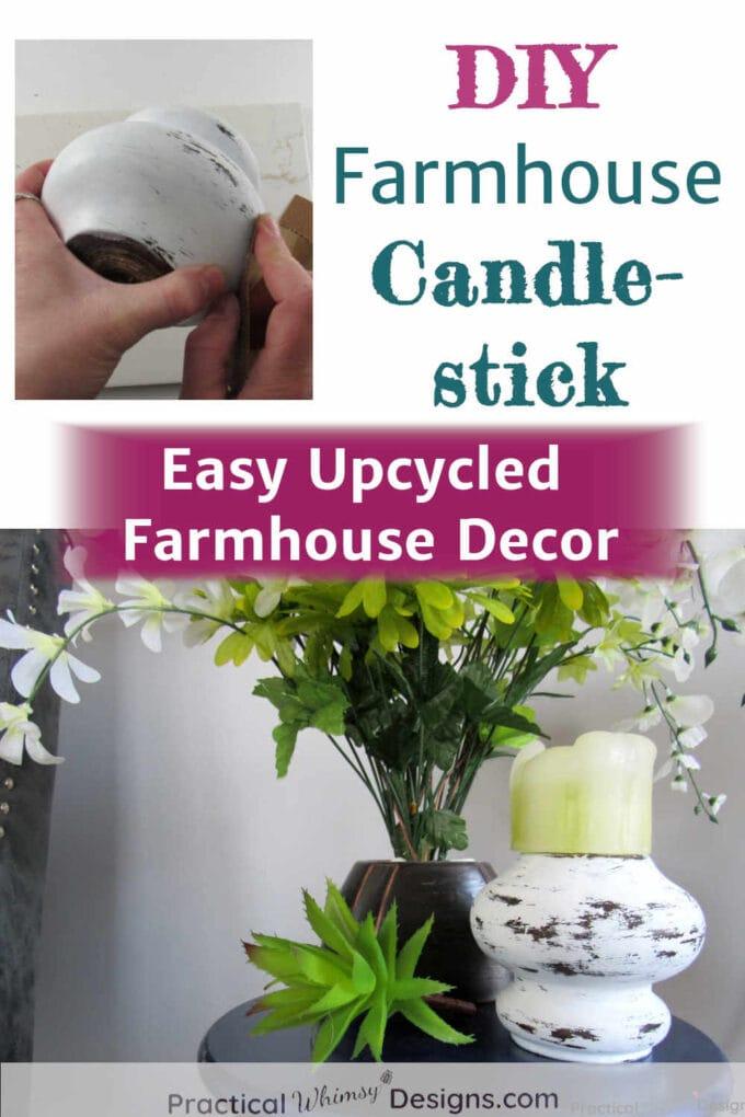 DIY Farmhouse candlestick upcycled decor