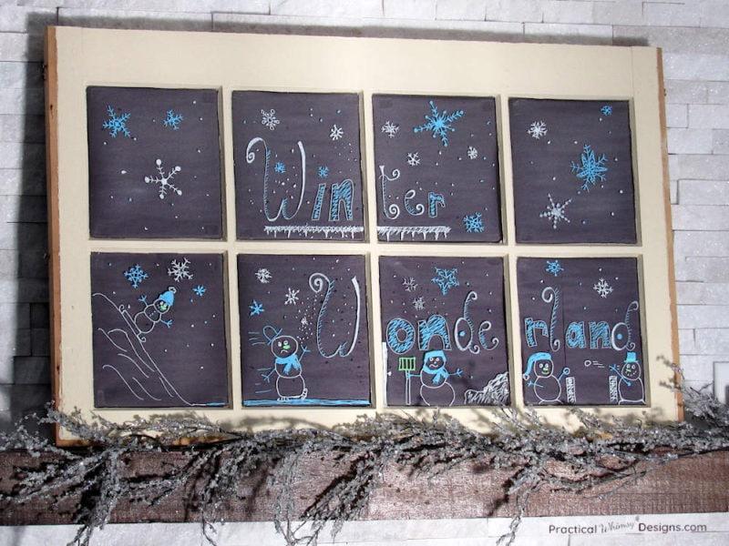 DIY Faux winter themed chalkboard on a window