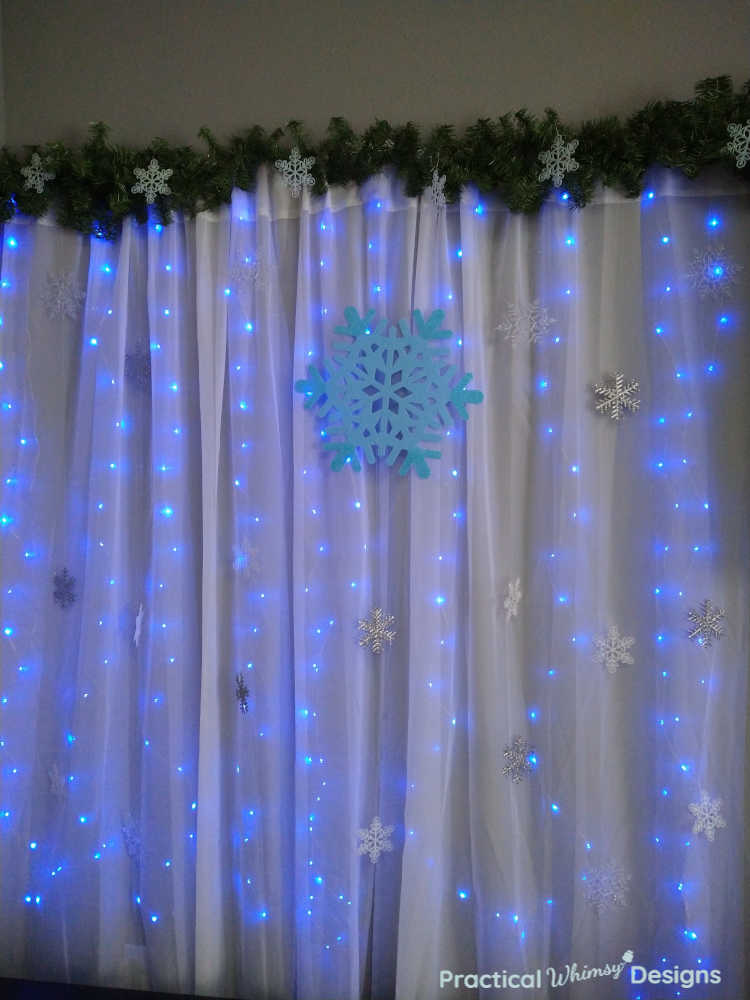 Lighted Curtain with blue lights and snowflakes