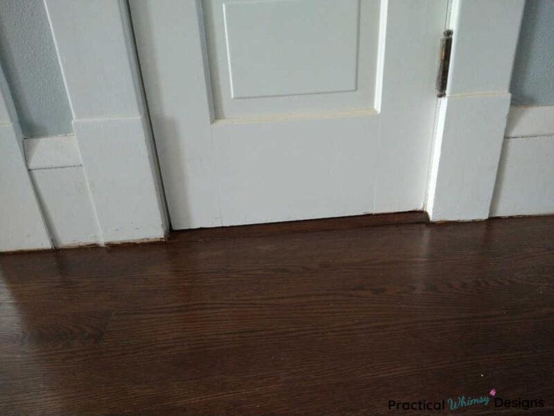 Hardwood flooring finished after filling gaps with wood filler.