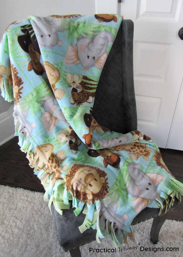 Fleece blanket on a chair