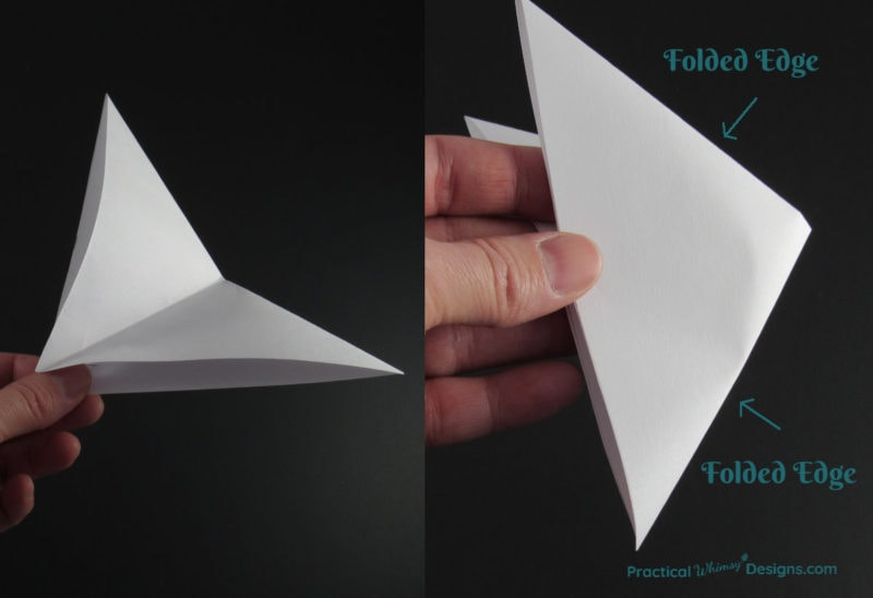 Steps showing how to fold a paper triangle to create a twisted paper star