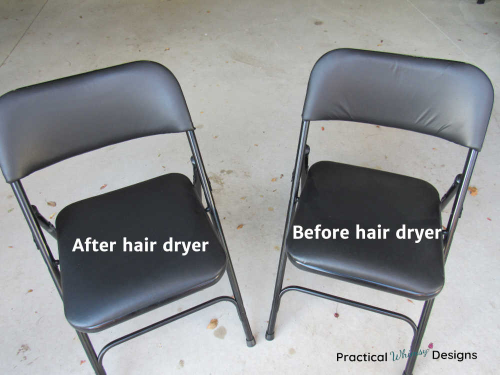 Black vinyl chairs before and after smoothing wrinkles with a hair dryer