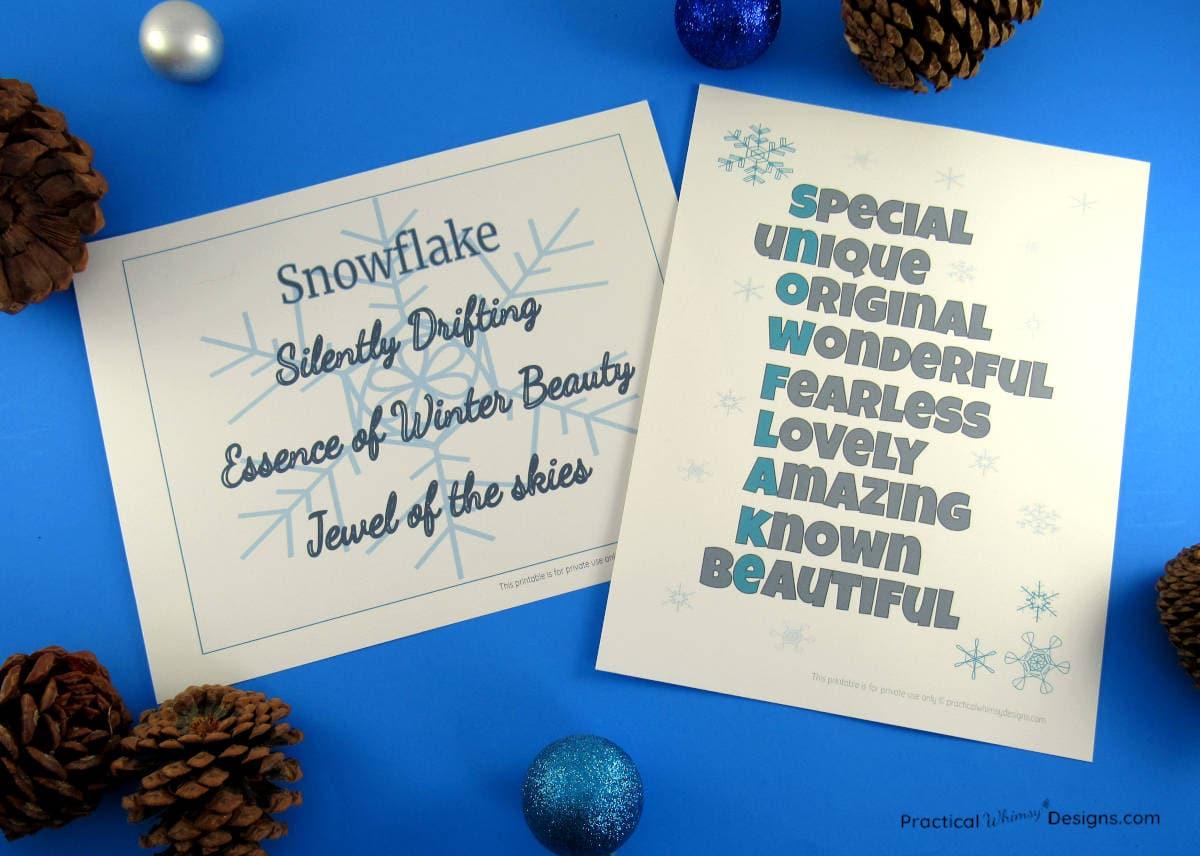Free winter poem printables