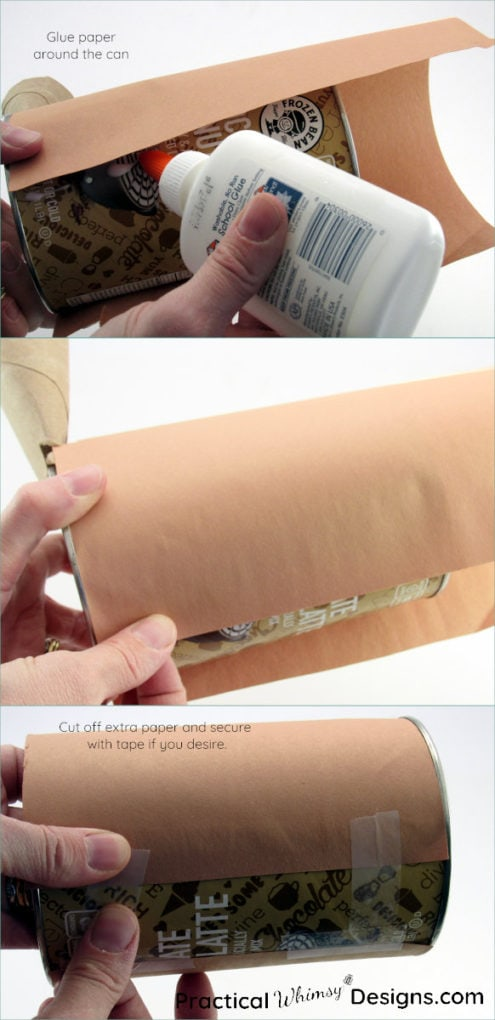 Gluing and taping construction paper onto can
