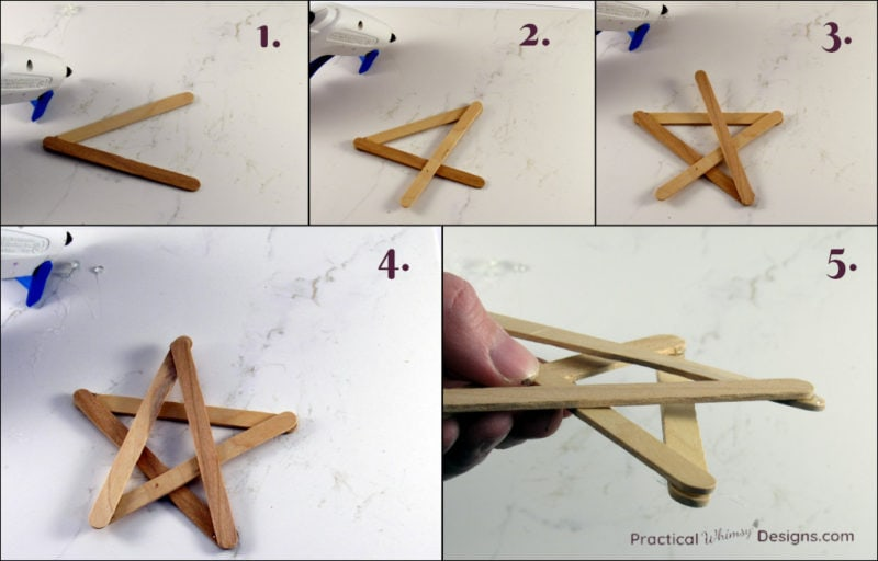 Steps for making a star out of craft sticks