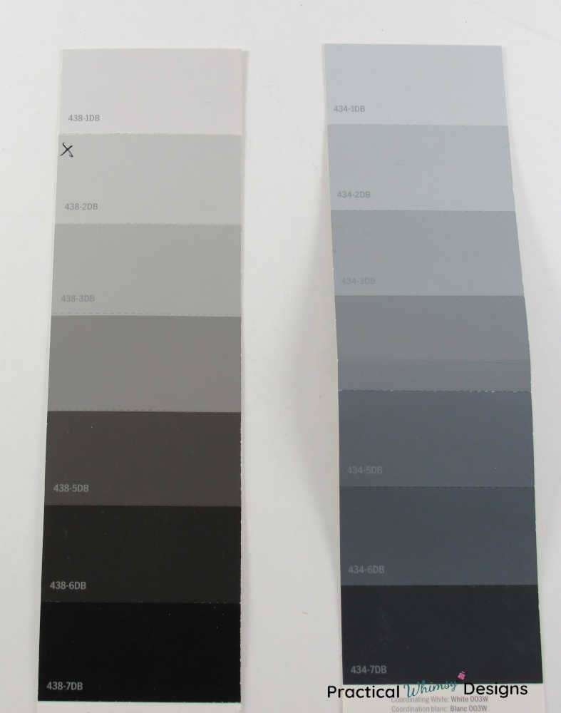 Showing the example of two gray color swatches with different hues. One of the common mistakes when choosing paint colors is choosing the wrong undertone.