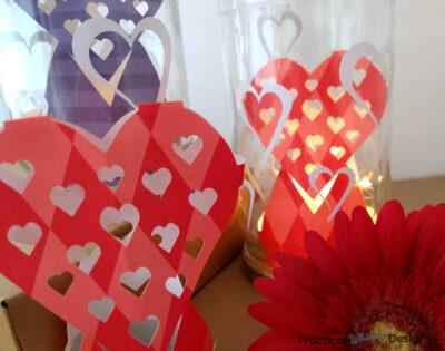 Heart decorative jar luminaries with red flower