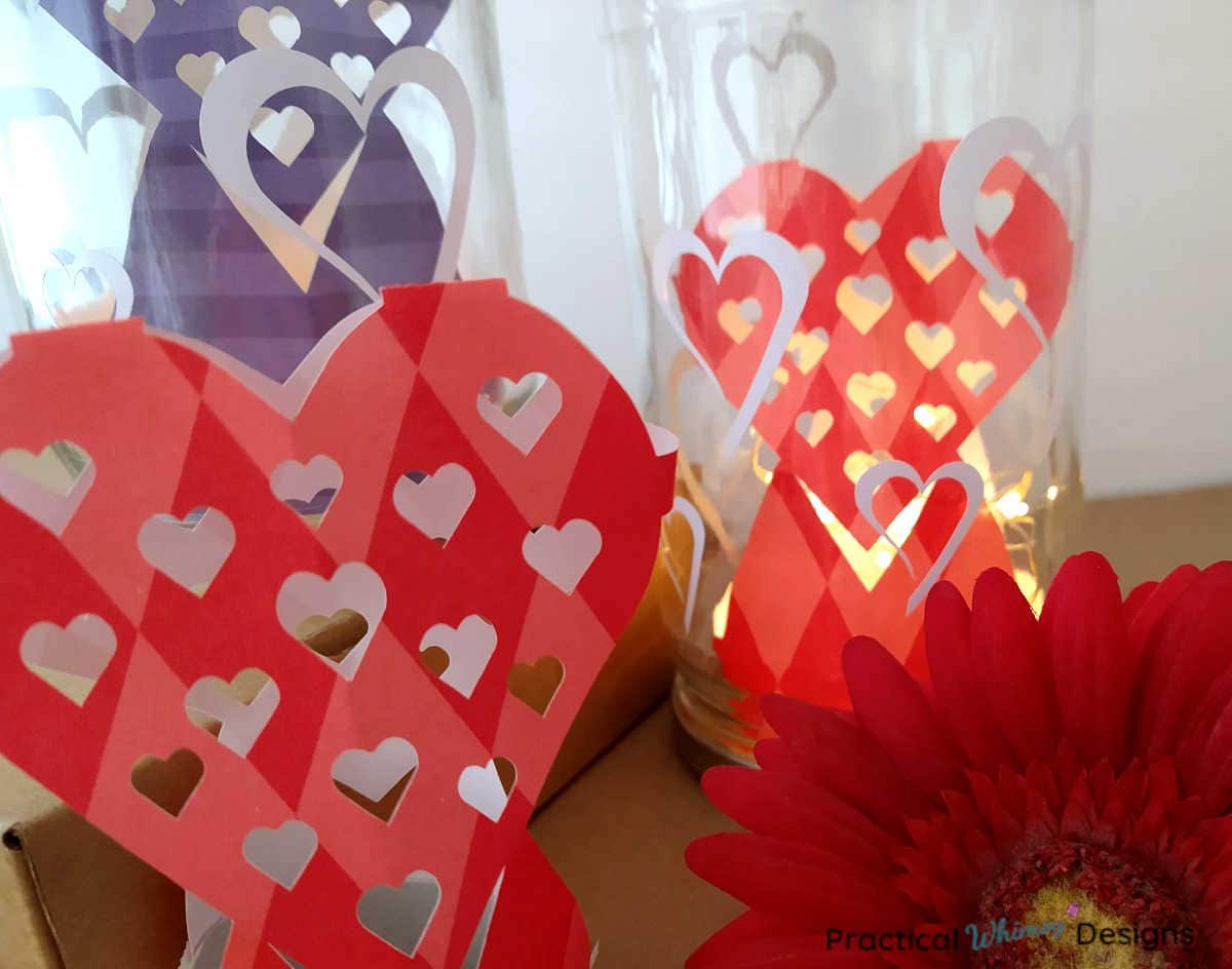 Heart decorative jar luminaries with red flower