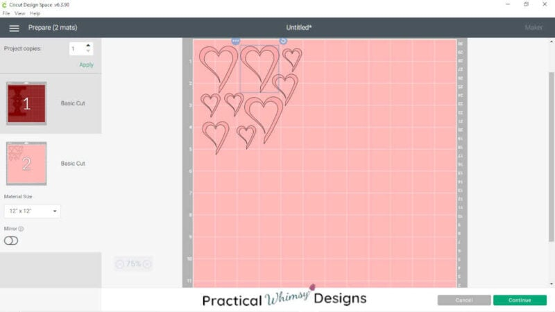 Cutting layers of heart luminary on Cricut design space.