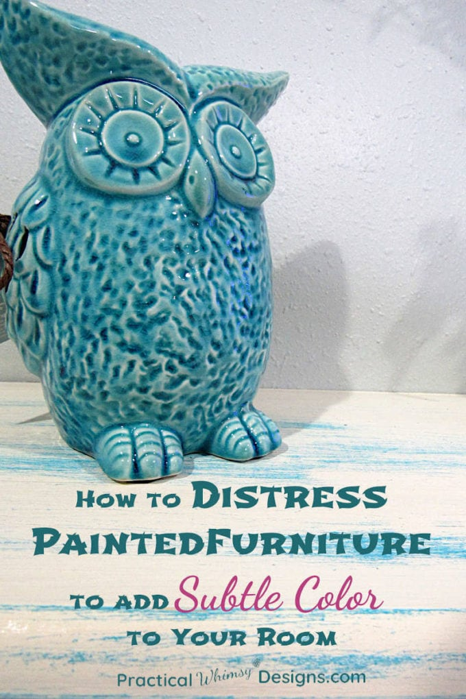 Owl sitting on painted distressed shelf