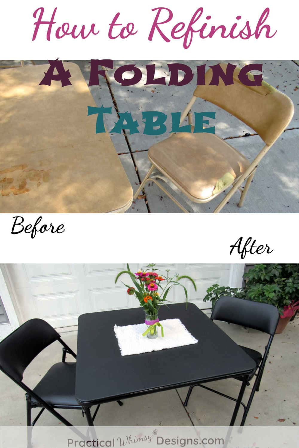 How To Refinish A Folding Table Practical Whimsy Designs