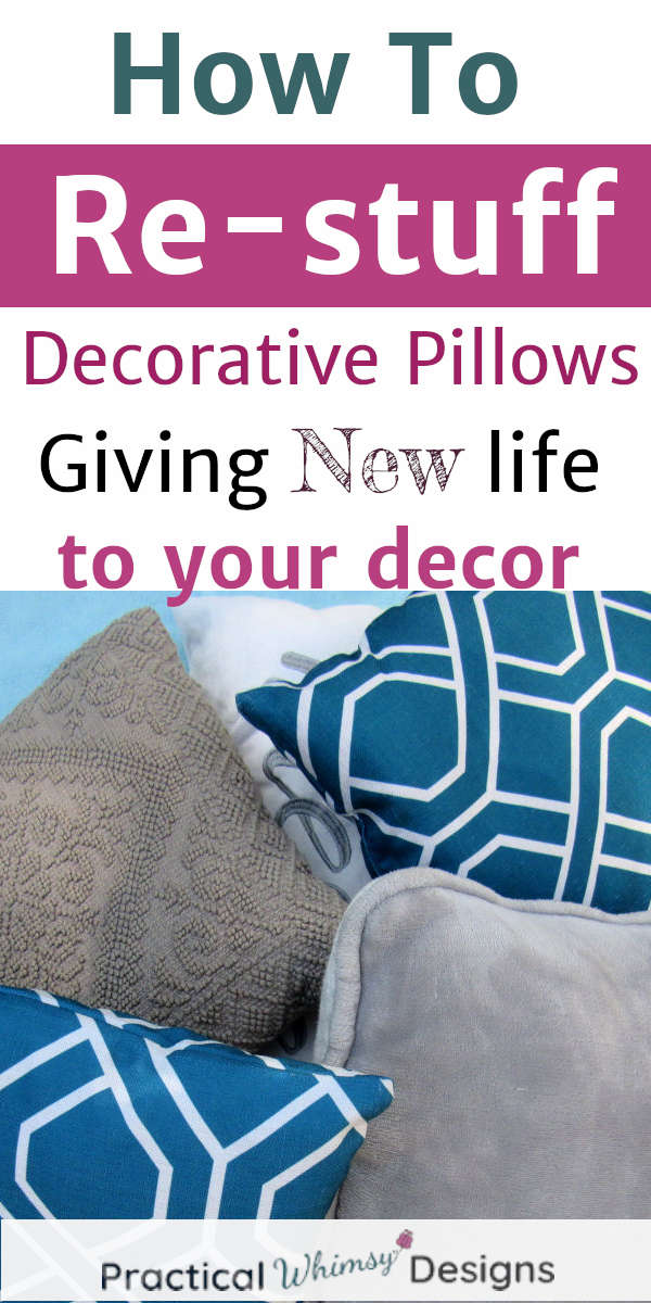 Pile of decorative pillows: How to restuff decorative pillows