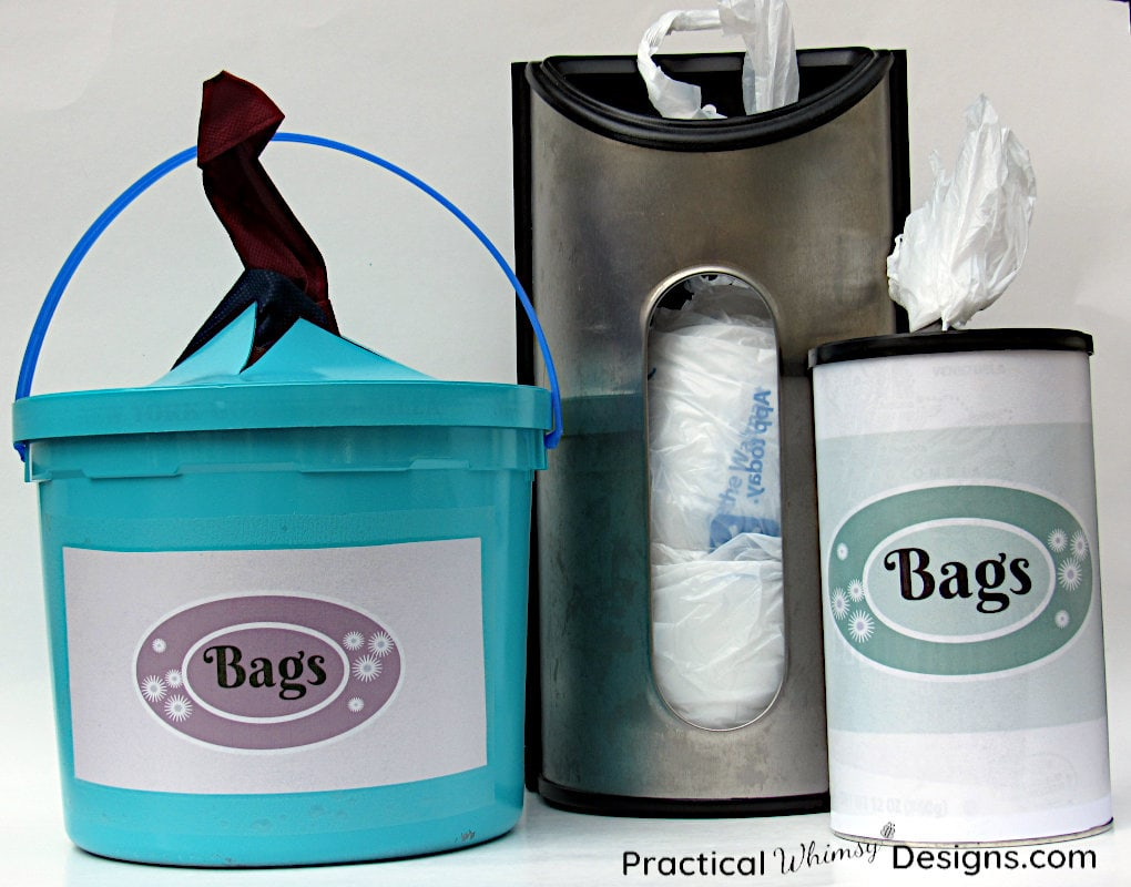 Plastic bags folded in canisters