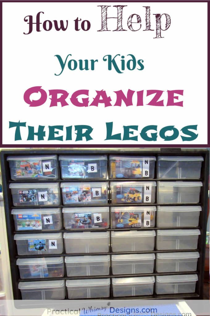 Ways to help your kids organize legos: legos organized in tool container
