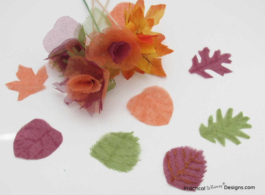Fabric flowers out of fall leaves