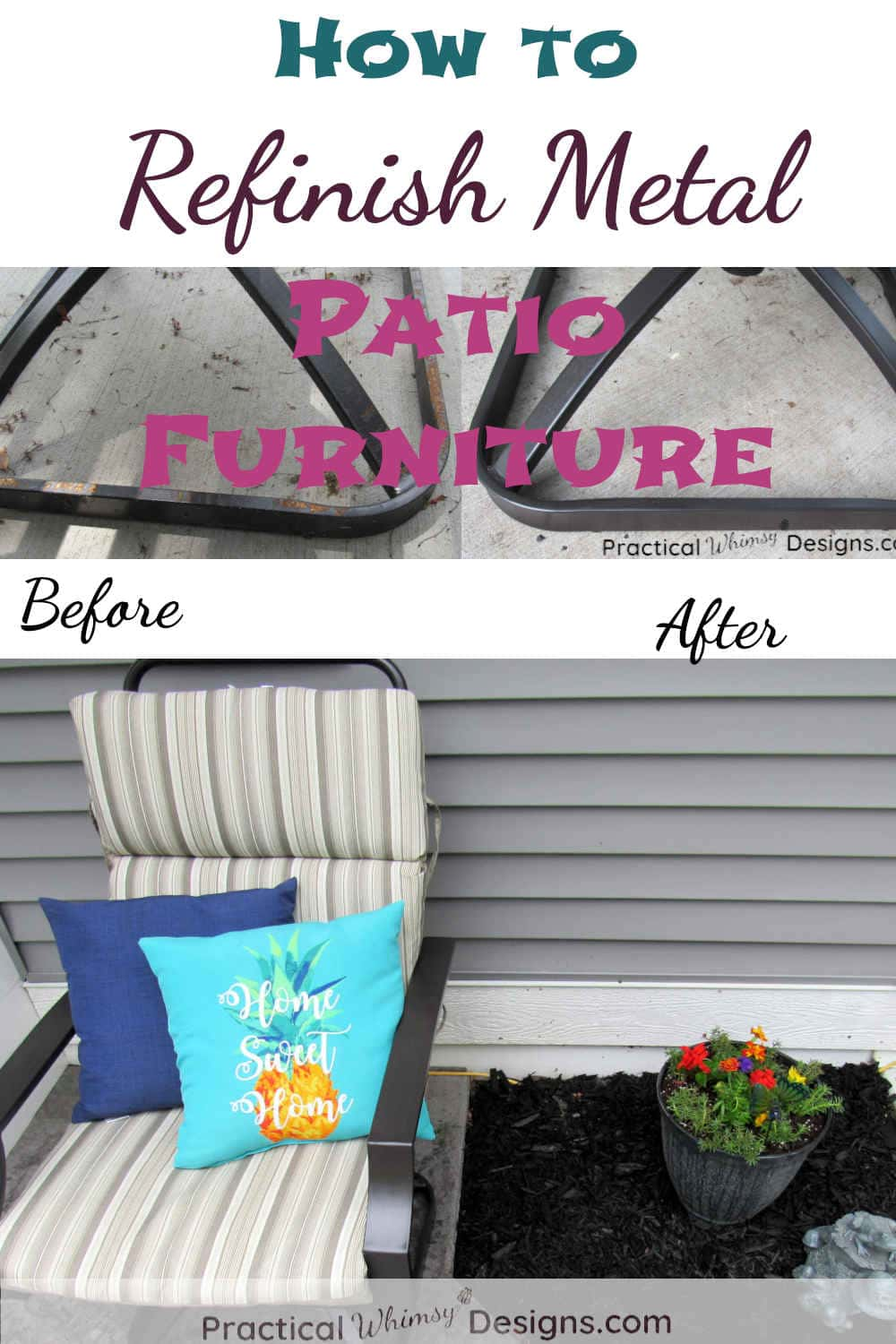 How To Refinish Metal Patio Furniture Practical Whimsy Designs