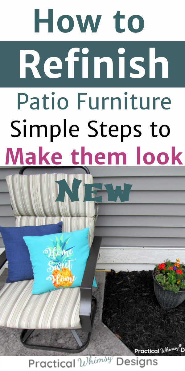 How to refinish patio furniture: patio chair with pillows and cushion sitting next to flowers