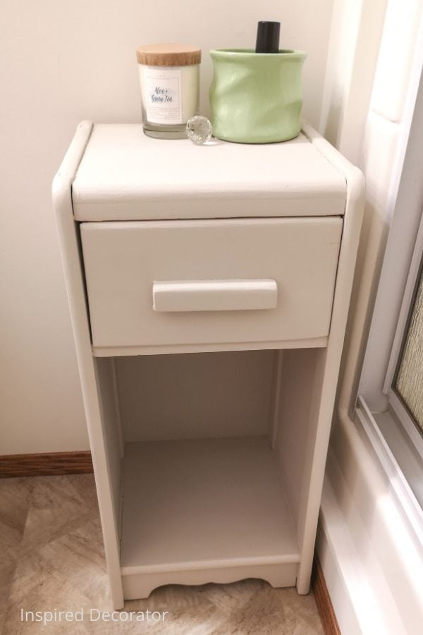 Painted bathroom cabinet from The Inspired Decorator