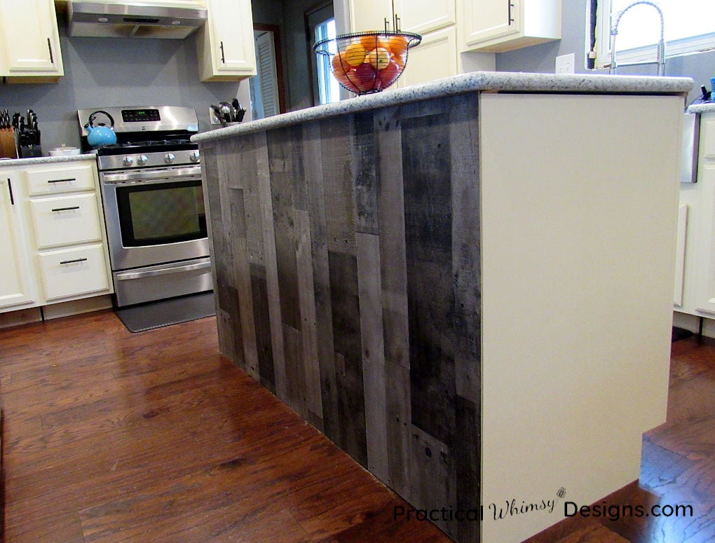 Simple & Cheap Kitchen Island Back Panel ~ Practical Whimsy ...