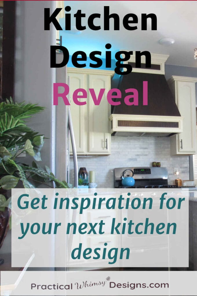 Kitchen design reveal: kitchen with white cabinets and custom wood vent over stove.